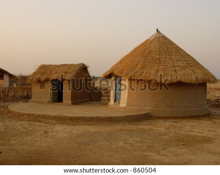 House of different shapes in an indian village stock photo for Different shapes of houses