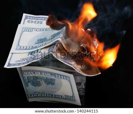 House of Dollar burns brightly. fire