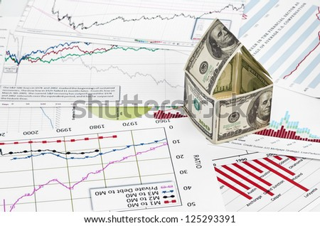 House of dollars. on chart background