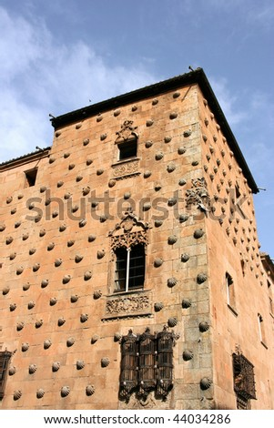 House of Shells (Casa de las Conchas) in Salamanca, Spain. The architecture includes Gothic, Moorish and Italian styles.