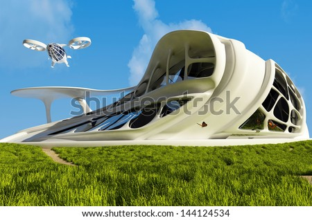 House of the Future  on the grass.