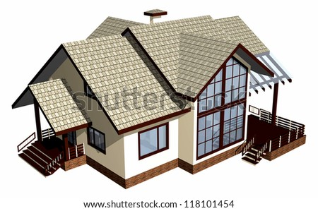 House of wooden timber. 3d model render. Isolation on white background.