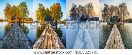 house on a small island. four seasons. a picturesque hut in all seasons