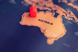 House on Australia part of world map. Real estate in Australia concept.