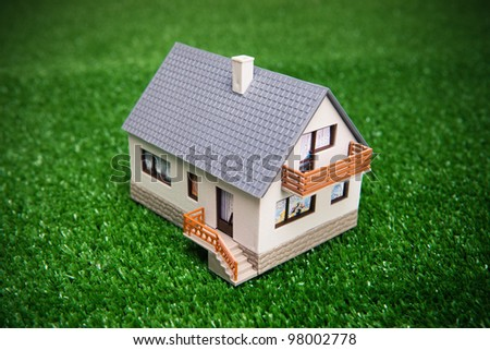 house on green background