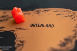 House on Greenland (world map). Real estate/ life in Greenland concept.