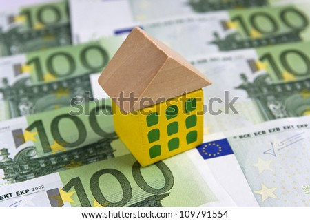 House on hundred euro bills - Europe real estate concept