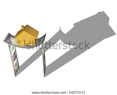 HOUSE ON MONEY A gold house on a structure dollar bills, bending under the stress. Symbol of housing market crash, investment risk, or a downturn in the housing market. Isolated 3D illustration.