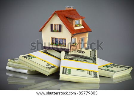 house on packs of banknotes on a grey background