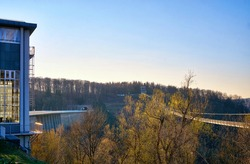 House on Rappbode Dam with a view of the Titan RT bridge. Germany
