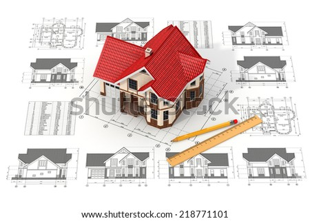 House on the drafts in different projections and blueprints. Construction concept.