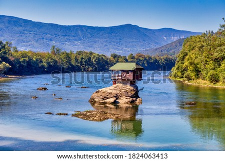 House on the rock at the river Drina in Bajina Basta, Serbia.  Drina river with famous house on the stone.  Stock photo ©