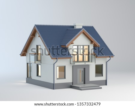 House on white background, 3d illustration
