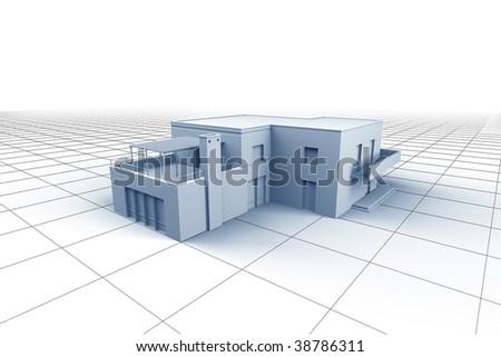 House on white grid background