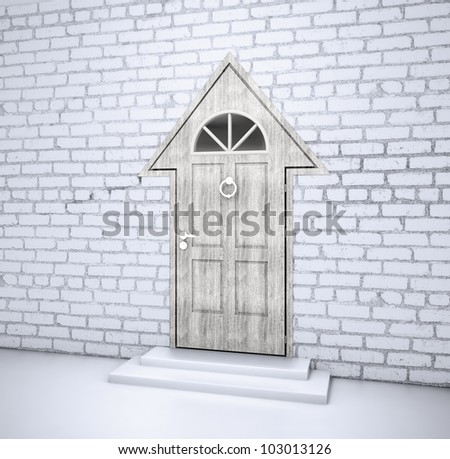 House or arrow shaped entrance door