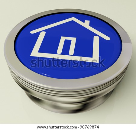 House Or Home Icon Metallic Blue Button For Real Estate