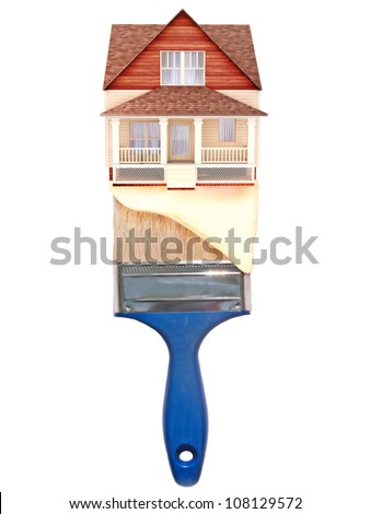 House painting concept. House on top of a blue paintbrush with paint dripping down.