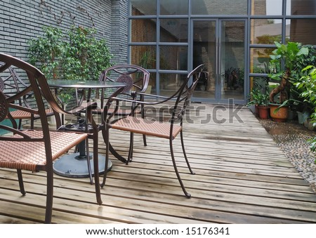 House patio with chairs and table