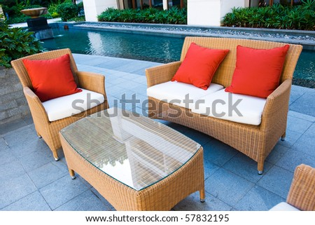House patio with tables, chairs and pool.