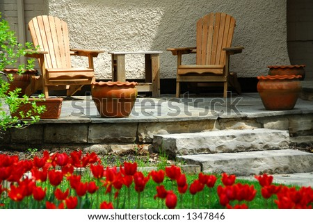 House patio with wooden chairs