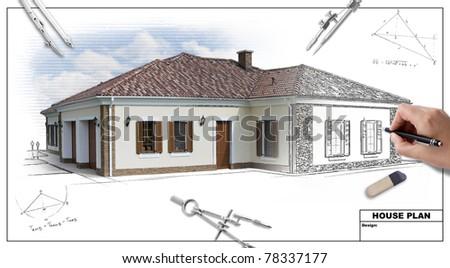 House plan blueprints 2, designer\'s hand