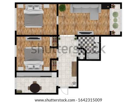 House plan 3d. 3d house plan. Floor plan.