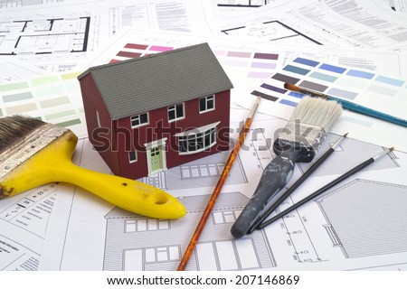 House plans, house and painting tools