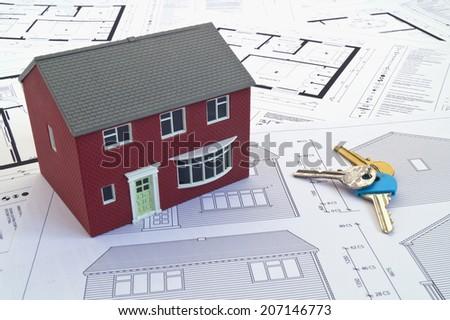 House plans, house & keys