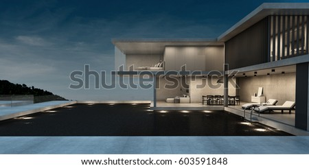House Pool Villa Minimalist style design with a material concrete.The front is clear glass. The side is a black sliding door.background view at night-3D render