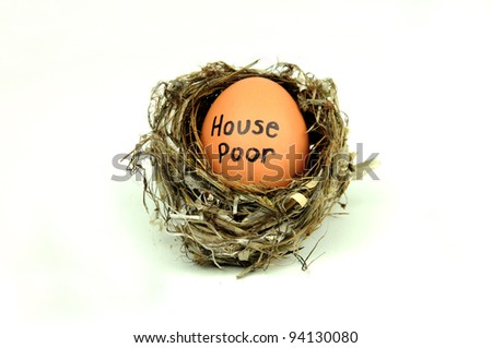 House poor: mortgage/debt concept on egg in nest