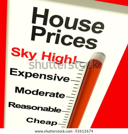 House Prices High Monitor Showing Expensive Mortgage Cost