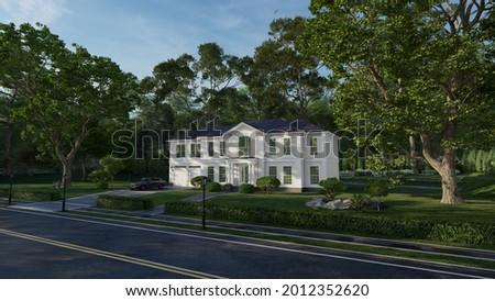 House project. Cottage design in 3D graphics. The facade is made in the style of Neoclassicism Architecture. Located among large trees in the suburbs. 3d rendering.