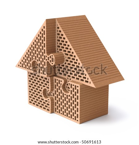 House puzzle made from hollow clay block