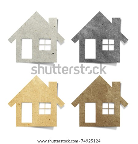 house recycled paper stick on white background