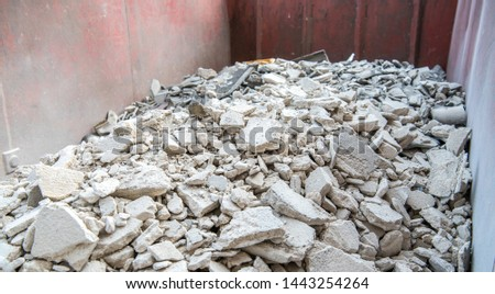 House renovation, building rubble in a container