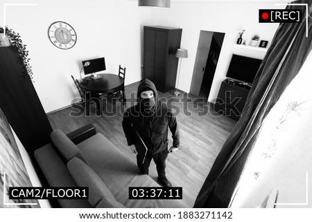 house robbery - burglar captured on surveillance security camera in living room ストックフォト ©