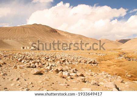 House ruins on silk way, Pamir,Tajikistan, Central Asia. Karavan Sarai Stok fotoğraf ©