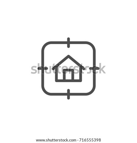 House search line icon isolated on white