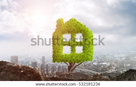House shaped green tree as real estate concept #532181236