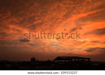 House silhouette with gorgeous sunset sky background