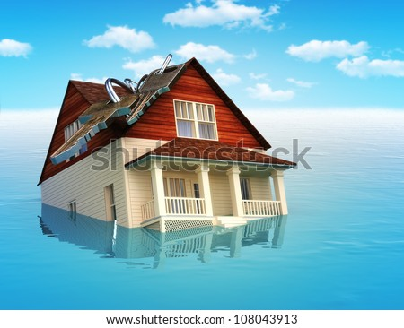 House sinking in water ,real estate housing crisis,flooding, ect. concept