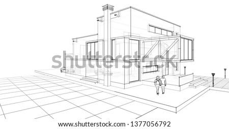 house sketch 3d illustration