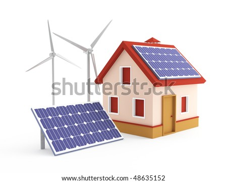 House solar panel and wind turbine