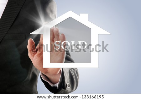 house sold, buyers realized his dream of his own house - stock photo