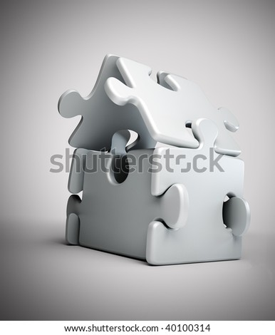 House symbol build out of jigsaw puzzle pieces
