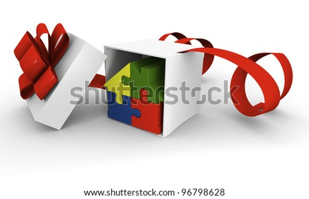 House symbol made of four colorful puzzle pieces inside gift box