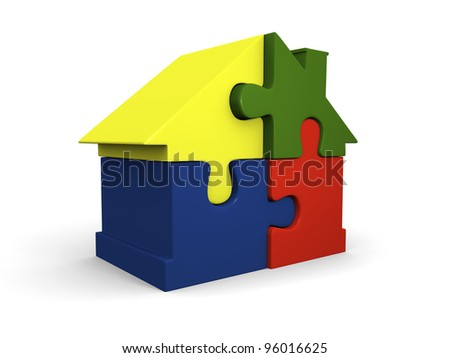 House symbol made of four colorful puzzle pieces not lined up
