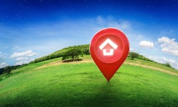 House symbol with location pin icon on earth and green grass in real estate sale or property investment concept, Buying new home for family - 3d illustration of big advertising sign.