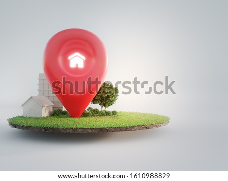 House symbol with location pin icon on earth and green grass in real estate sale or property investment concept. Buying land for new home. 3d illustration of big advertising sign.