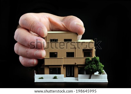 House that collapsed in the hands of large human